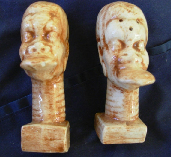 African face salt and pepper shakers