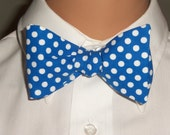 Glenview Summer Camp 2012 - Men's Adjustable Self-Tie Bow Tie in Blue with White Polka Dot Fabric