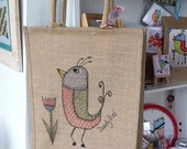 Canvas (jute) shopper/book bag with wide bottom panel