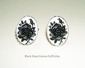 BLACK ROSE CAMEO Cuff Links Men Women Cufflinks Beautiful Goth Flowers