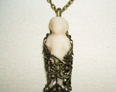 Frozen GHOST CHARLOTTE Doll Necklace Pendant Neo Victorian Inspired Jewelry Filigree Wrapped