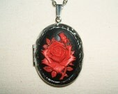 RED ROSE Necklace Locket Pendant Gothic Mourning Red Rose Black Background