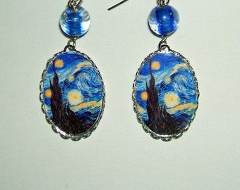 STARRY NIGHT  Earrings Altered Art Pierced Dangle Earrings Van Gogh Painting Image Silver Pltd Free USA Shipping