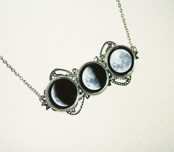 MOON PHASES Necklace Statement Altered Art Jewelry Celestial Moon Goddess