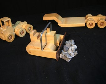 Bulldozer on Tractor-Trailer Wooden Toy - 18in. long