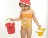 Yellow and orange one piece swimsuit for girls, toddlers and babies, modern heart print, 2y, 4y, 6y, 8y, highest quality lycra