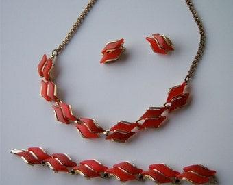 Reddish-Orange Moonstone: Necklace, Bracelet and Earrings