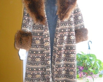 On Sale------1980's ANNE KLEIN Bohemian Style Tapestry and Fox Ladie's Coat
