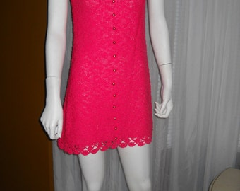 Sale----Vintage 1960's Hot Pink Mini Dress by ST. JOHN KNITS.