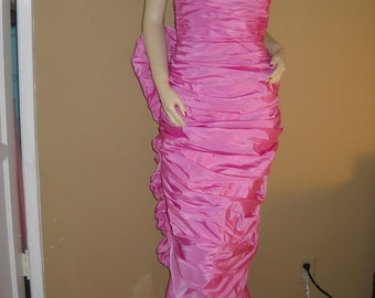 On Sale----Vintage VICTOR  COSTA 1980's Pink Ruffle Back Strapless Gown
