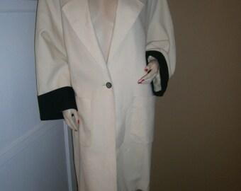 On Sale----Vintage 1960 Black and Creme Linen COAT by CHLOE Designer