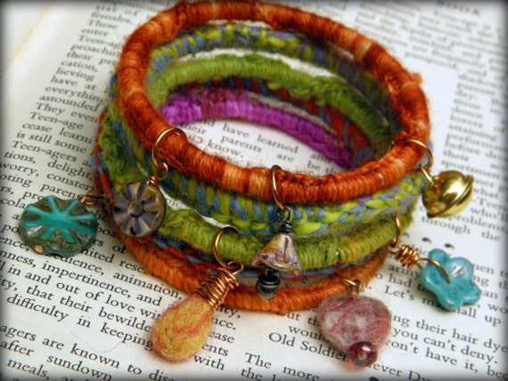 Bohemian gypsy charm bangles - stack of 5 with fiber and bead charms