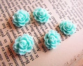 Resin Flower Cabochons - Aqua - Emily Collection - 18x14mm - 5pcs - Ships IMMEDIATELY from California - C08a