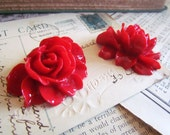 2 Red Flower Cabochons - (Elysa Collection) - LARGE - 46x36mm - Ships IMMEDIATELY from California - C10R