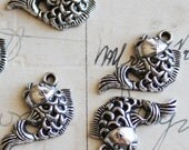 40 WHOLESALE Fish Charms Silver 3D - 12x20mm - Ships IMMEDIATLEY  from California - SC115a