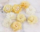 NEW 2012  Lady Godiva Flowers in Nougat - Mini Fabric Flowers - Prima - 557034