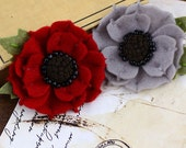NEW 2012  Encore Flowers in Tartan - Soft Red and Grey Felt Flowers - Prima - 558680