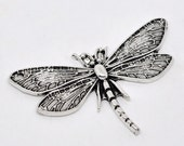 3 Dragonfly Connectors - Silver Charms - 49x31mm - Ships IMMEDIATELY  from California - SC165