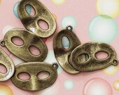 Masquerade Mask Charms Antique Bronze  28x17mm 5pcs  - Ships IMMEDIATELY from California - BC28