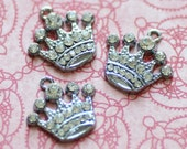 Rhinestone Crown Charms Silver 21x20mm - Ships IMMEDIATELY from California - SC227