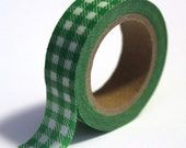 SALE Washi Tape Green Gingham Plaid 15mm x 10m - TP79