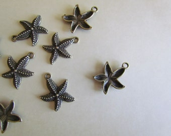 Starfish Charms Antique Bronze 22x18mm 10pcs - Ships Immediately from California - BC62