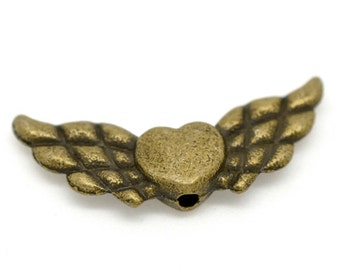 10 Heart Wings Beads - Antique Bronze - 22x9mm - Ships IMMEDIATELY from California - B12