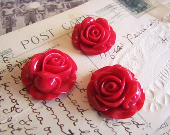 SALE Red Flower Cabochons - LARGE -  Piper Collection - 27mm - 3pcs - Ships IMMEDIATELY from California - C09R
