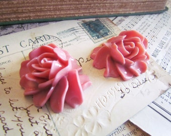 SALE 2 Pink Flower Cabachons - LARGE - Elysa Collection - 46x36mm - Ships IMMEDIATELY from California - C10P