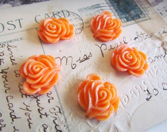SALE 10 Orange Flower Cabochons (Vivian Collection) 27x27mm - Ships IMMEDIATELY from California - C13O