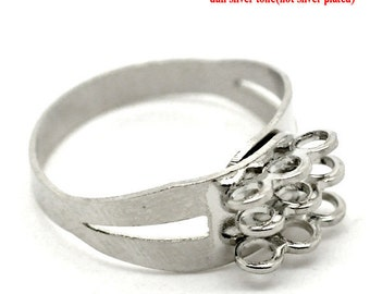 SALE 30 Silver Rings with 9 Loops - WHOLESALE - Antique Silver - 18.3mm - Ships IMMEDIATELY from California - A15a