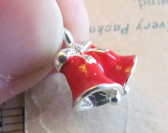 SALE Silver Bell Charms - Red Enamel - 3D - 17x16mm - 3pcs - Ships IMMEDIATELY from California - SC75
