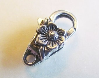 10 Flower Clasps - WHOLESALE - Antique Silver - 24x13mm - Ships IMMEDIATELY  from California - FC07a