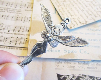 3 Tinkerbell Fairy Charms - Antique Silver - 52x46mm - Ships IMMEDIATELY from California - SC81