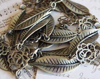 3' Rose Leaf Chain - Antique Bronze -  53x15mm - 1M - Ships IMMEDIATELY  from California - CH25