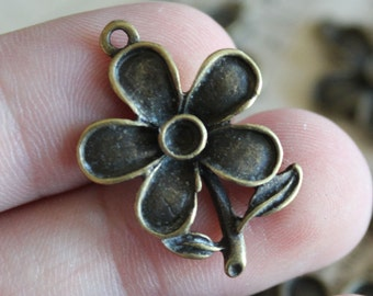8 Flower Charms - Antique Bronze - Stemmed Flower - 28x20mm - Ships IMMEDIATELY from California - BC240