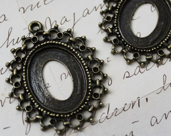 Bronze Cabochon Frames -  Cameo Settings - Fits 26x20mm  - 48x38mm - Ships IMMEDIATELY  from California - BC249