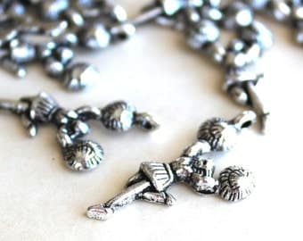 40 Cheerleader Charms - Antique Silver - 28x13mm - Ships IMMEDIATELY from California - SC118a
