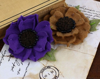 SALE Prima Encore Merino Flowers - Soft Brown and Purple Felt Flowers 2012- Prima - 2pcs - Ships IMMEDIATELY from California - 558697