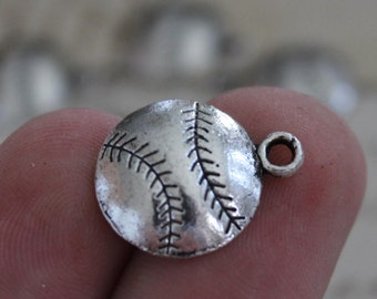 50 WHOLESALE Baseball Charms Softball Antique Silver 18x14.5mm - Ships IMMEDIATELY   from California - SC133a
