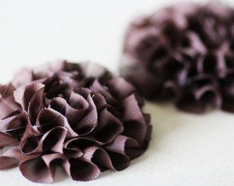 SALE 20 Fabric Flowers Chocolate Brown Fluffly Ruffled Chiffon - 3.5 inch - SFH-0003-CH