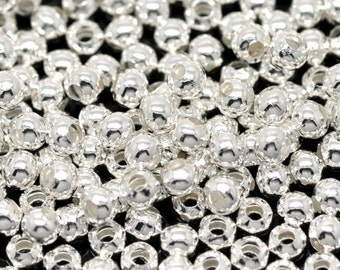 1000 Silver Spacers Beads - WHOLESALE - Smooth - 3mm - Ships IMMEDIATELY  from California - B57a