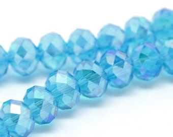 360 Faceted Rondelle Beads 8mm Sky Blue AB - WHOLESALE - 5 Strands - Ships IMMEDIATELY  from California - B66a