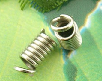 Silver Coil Fasteners - Antique - End Crimps - Fits 2mm Cords - 4x8mm - 50pcs - Ships IMMEDIATELY from California - F31
