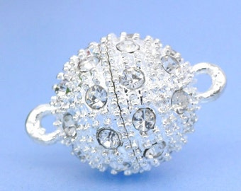 Rhinestone Magnetic Clasp - Silver - 18x12mm - Ships IMMEDIATELY from California - FC22