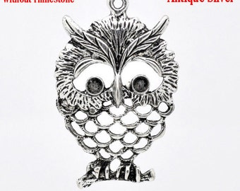 2 Owl Pendants - Antique Silver - LARGE - 60x40mm - Ships IMMEDIATELY from California - SC187