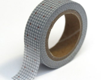 SALE Graph Washi Tape - Grey Graph with Red Dot  - 15mm x 10m - TP46