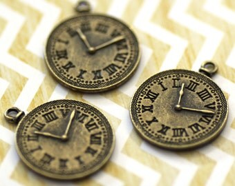 10 WHOLESALE Bronze Clock Charms - Antique Bronze - 37x30mm - Ships IMMEDIATELY from California - BC05a