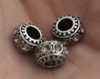 Rhinestone Spacer Beads Pink with Silver 11mm 3pcs - Ships IMMEDIATELY  from California - B85