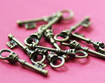 10 Bronze Key Charms - Antique Bronze - Skeleton Keys - 35x9mm - Ships IMMEDIATELY from California - BC36